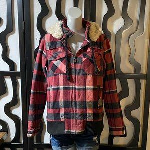 Hurley Plaid Faux Fur Jacket